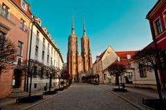 Tumski del ostrow della cattedrale di Wroclaw Fotografie Stock