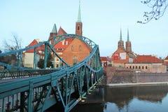 Tumski most w Wrocławskim (kochankowie przerzucają most) Zdjęcie Stock