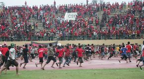 Tumulti del sostenitore di calcio Fotografie Stock