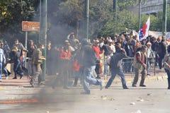 Tumulti durante le proteste Immagini Stock