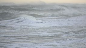 Tumultuous ocean waves tossing stock footage