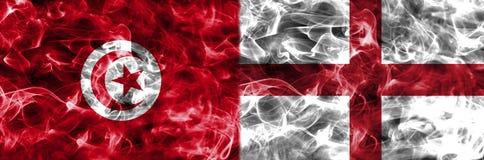 Tunísia contra a bandeira do fumo de Inglaterra, grupo G, campeonato do mundo 2018 do futebol, Foto de Stock Royalty Free
