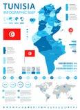 Tunísia - mapa e bandeira infographic - ilustração detalhada do vetor Fotos de Stock Royalty Free