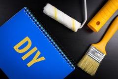 Tun Sie es sich Konzept-Hintergrund für Blog Draufsichtkunstbürste a Stockfoto