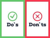 Tun Sie ` s und Don-` Ts mit Zecke und Kreuz stock abbildung