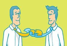 Tun Sie sich die Geschäftsmannverhandlung zusammen, die oben durch seine Bindungen gebunden wird Stockfoto