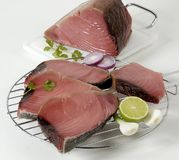 Tuna. Sliced raw tuna with lime, garlic, onion and herbs Royalty Free Stock Photo