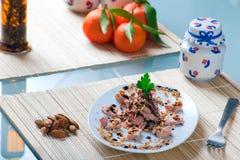 Tuna and Almonds with Vinegar Glaze Royalty Free Stock Photos