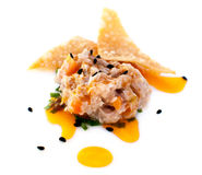 Tuna Appetizer. A tuna appetizer with chips Royalty Free Stock Photos