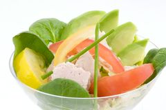 Tuna and avocado salad. Artfully arrange lettuce,spinach, sliced avocado, red and yellow tomatoes and tuna in a champagne goblet for a special luncheon (wedding Royalty Free Stock Image