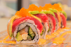 Tuna Avocado sushi roll Royalty Free Stock Photos