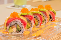 Tuna Avocado sushi roll Stock Images