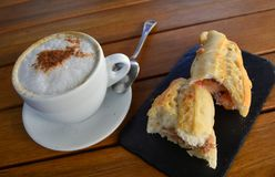 Tuna Baguette  And Cup Of Cappuccino Royalty Free Stock Photography