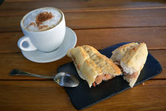 Tuna Baguette  And Cup Of Cappuccino Royalty Free Stock Image