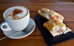 Tuna Baguette  And Cup Of Cappuccino Stock Photography