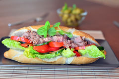 Tuna Baguette With Vegetables On The Brown Plate Royalty Free Stock Photos
