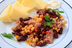 Tuna been and sweetcorn salad horizontal royalty free stock image