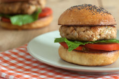 Tuna burger Royalty Free Stock Images