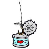 Tuna can and fish hook cartoon Royalty Free Stock Images