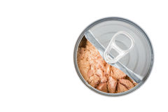 Tuna can. Half open can and tuna inside Royalty Free Stock Image