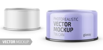 Tuna can with label and sample design. Low-profile glossy tuna can with label on white background. Photo-realistic packaging vector mockup template with sample stock illustration