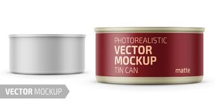 Tuna can with label and sample design. Low-profile matte tuna can with label on white background. Photo-realistic packaging vector mockup template with sample royalty free illustration