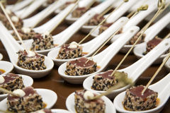 Tuna Canapes. About to be served Royalty Free Stock Photo