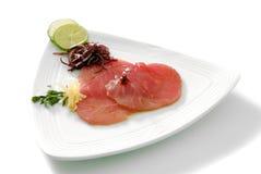 Tuna carpaccio with chipotle sauce stock photos