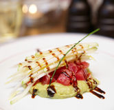 Tuna carpaccio with potato mash Royalty Free Stock Images