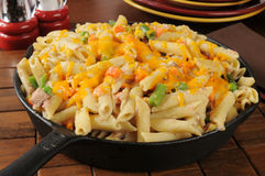 Tuna Casserole in a cast iron skillet Royalty Free Stock Images