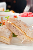 Tuna and cheese sandwich with salad Royalty Free Stock Image