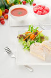 Tuna and cheese sandwich with salad Royalty Free Stock Photography