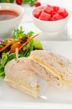 Tuna and cheese sandwich with salad Stock Image