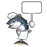 The tuna chef mascot  holding a big board. Scombridae Character Stock Photography