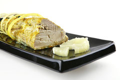 Tuna chunk served with lemon Royalty Free Stock Image