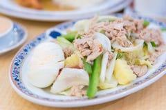 Tuna Chunks med sallad och grönsaker royaltyfri fotografi