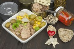 Tuna chunks with vegetables, preparing dietary meals Royalty Free Stock Images