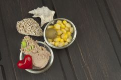Tuna chunks with vegetables, preparing dietary meals Royalty Free Stock Photography