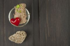 Tuna chunks with vegetables, preparing dietary meals Stock Photography