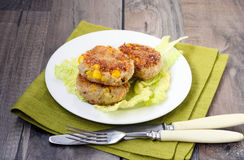 Tuna and corn cakes Stock Photography