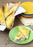 Tuna, corn and cauliflower triangles Royalty Free Stock Images
