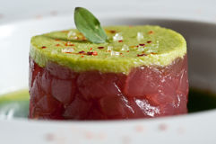 Tuna crudo with avocado Stock Photo