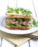 Tuna and cucumber sandwich Stock Images