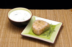 Tuna and dip. Grilled tuna steak with sauce bernaise as a dip royalty free stock images