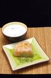 Tuna and dip. Grilled tuna steak with sauce bernaise as a dip royalty free stock photos