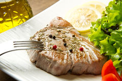 Tuna filet with salad Stock Photo