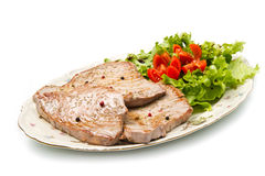 Tuna filet with salad Royalty Free Stock Photography