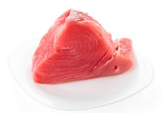 Tuna fillet on plate, isolated Royalty Free Stock Photography