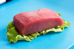 Tuna fillet resting on lettuce Stock Photo