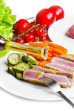 Tuna fillet with vegetables Royalty Free Stock Photo
